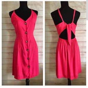 Red cutout dress open back button down fit & flare